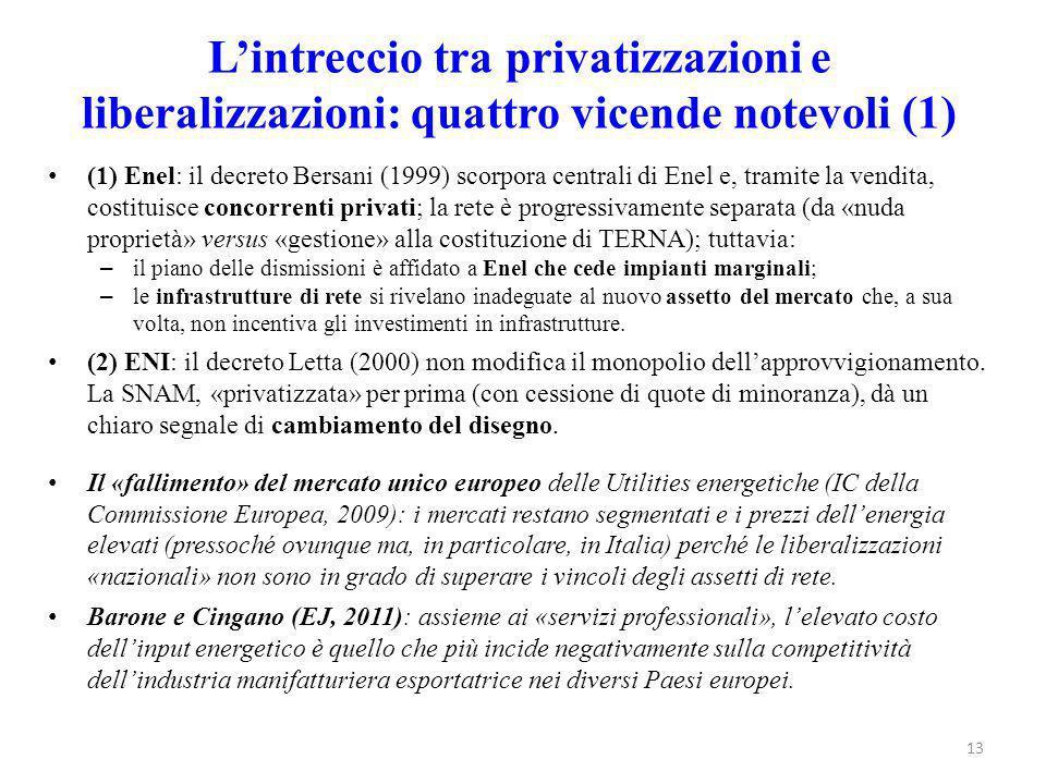 L'intreccio tra privatizzazioni e liberalizzazioni: quattro vicende notevoli (1)