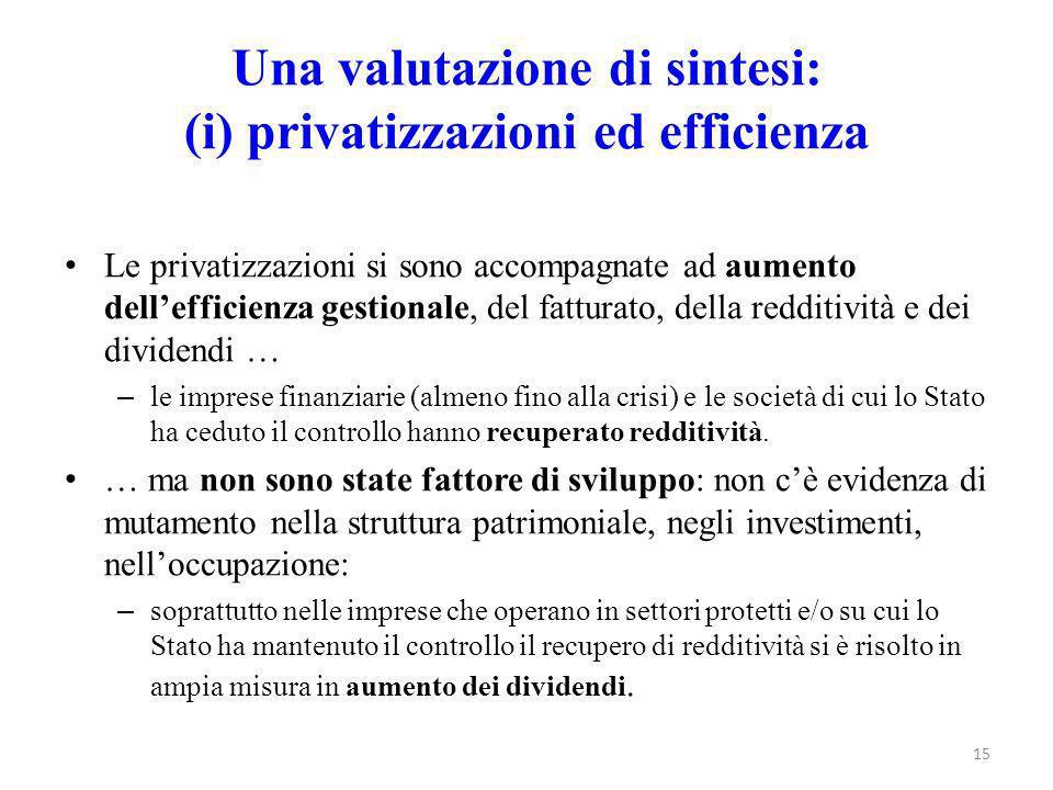 Una valutazione di sintesi: (i) privatizzazioni ed efficienza