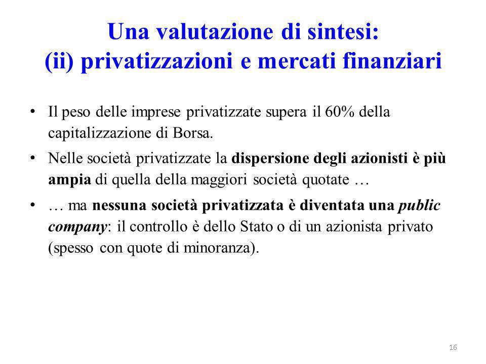 Una valutazione di sintesi: (ii) privatizzazioni e mercati finanziari
