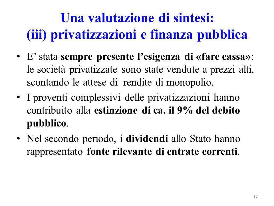 Una valutazione di sintesi: (iii) privatizzazioni e finanza pubblica