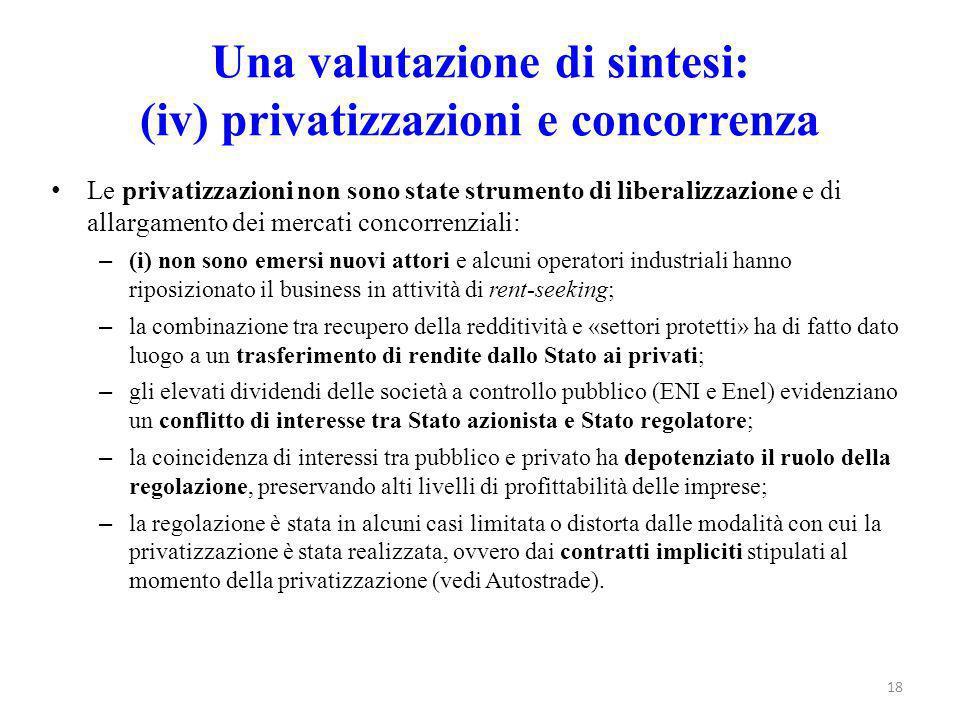 Una valutazione di sintesi: (iv) privatizzazioni e concorrenza