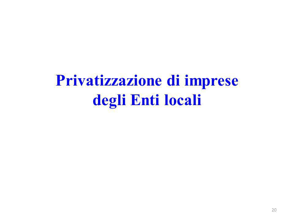 Privatizzazione di imprese degli Enti locali