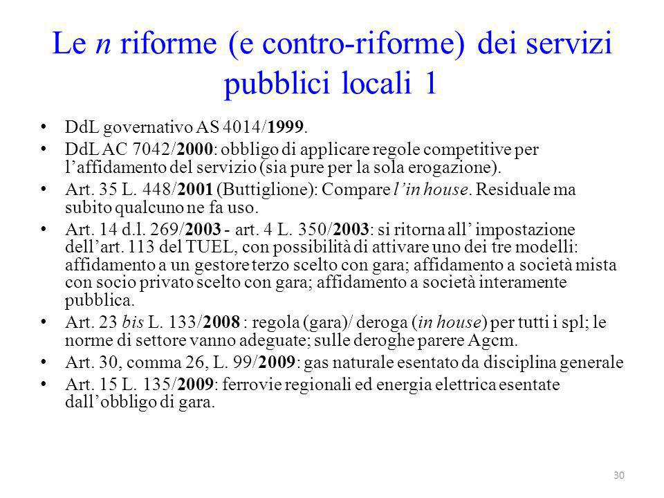 Le n riforme (e contro-riforme) dei servizi pubblici locali 1