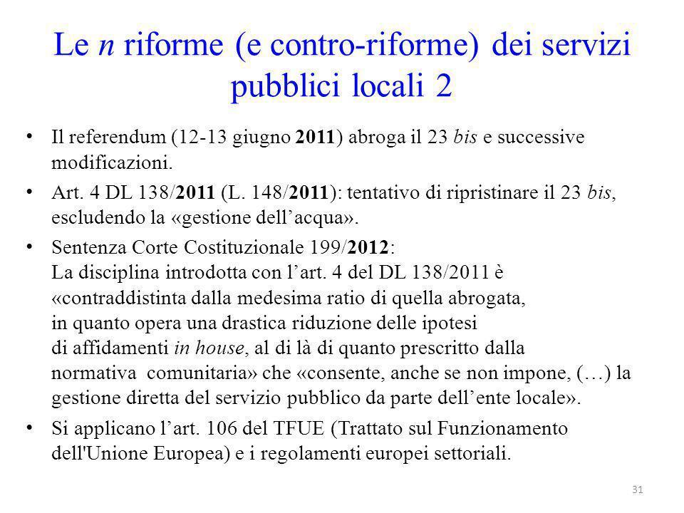 Le n riforme (e contro-riforme) dei servizi pubblici locali 2