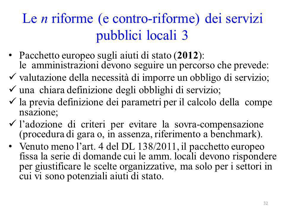 Le n riforme (e contro-riforme) dei servizi pubblici locali 3