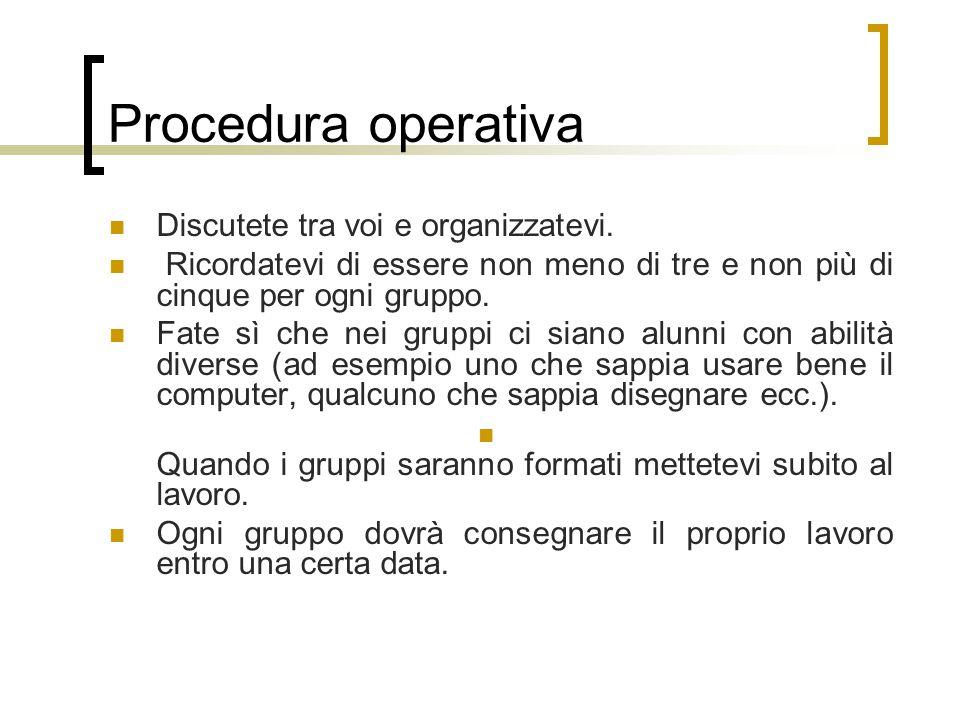 Procedura operativa Discutete tra voi e organizzatevi.