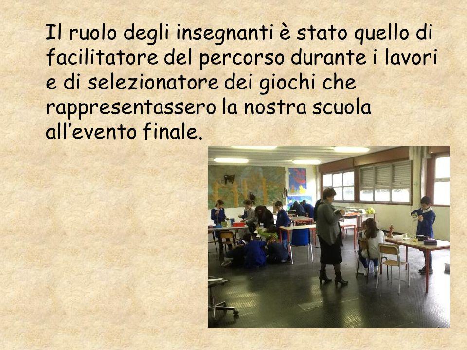 Il ruolo degli insegnanti è stato quello di facilitatore del percorso durante i lavori e di selezionatore dei giochi che rappresentassero la nostra scuola all'evento finale.