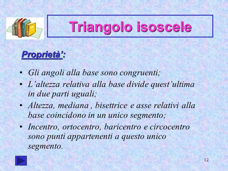 Triangolo isoscele Proprietà': Gli angoli alla base sono congruenti;