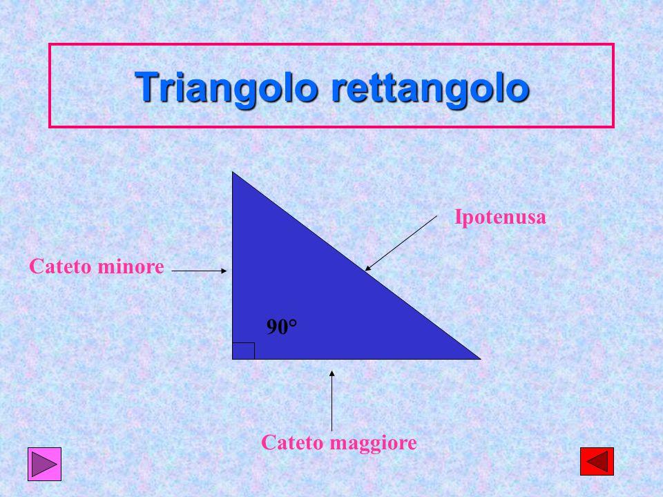 Triangolo rettangolo Ipotenusa Cateto minore 90° Cateto maggiore