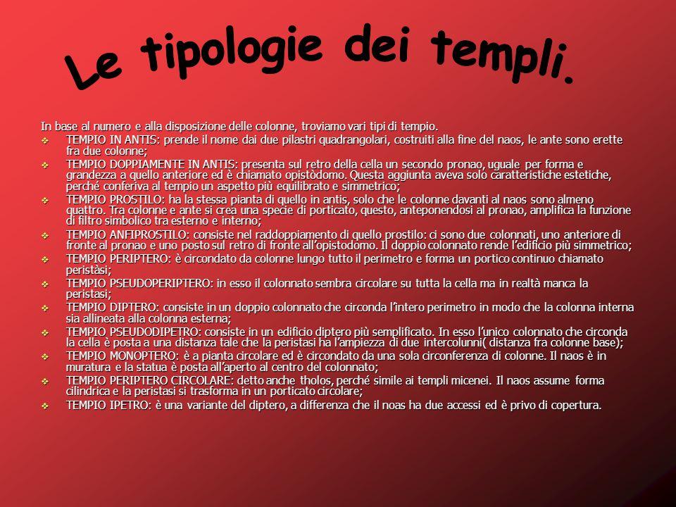 Le tipologie dei templi.