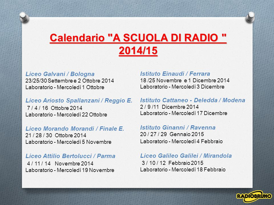 Calendario A SCUOLA DI RADIO
