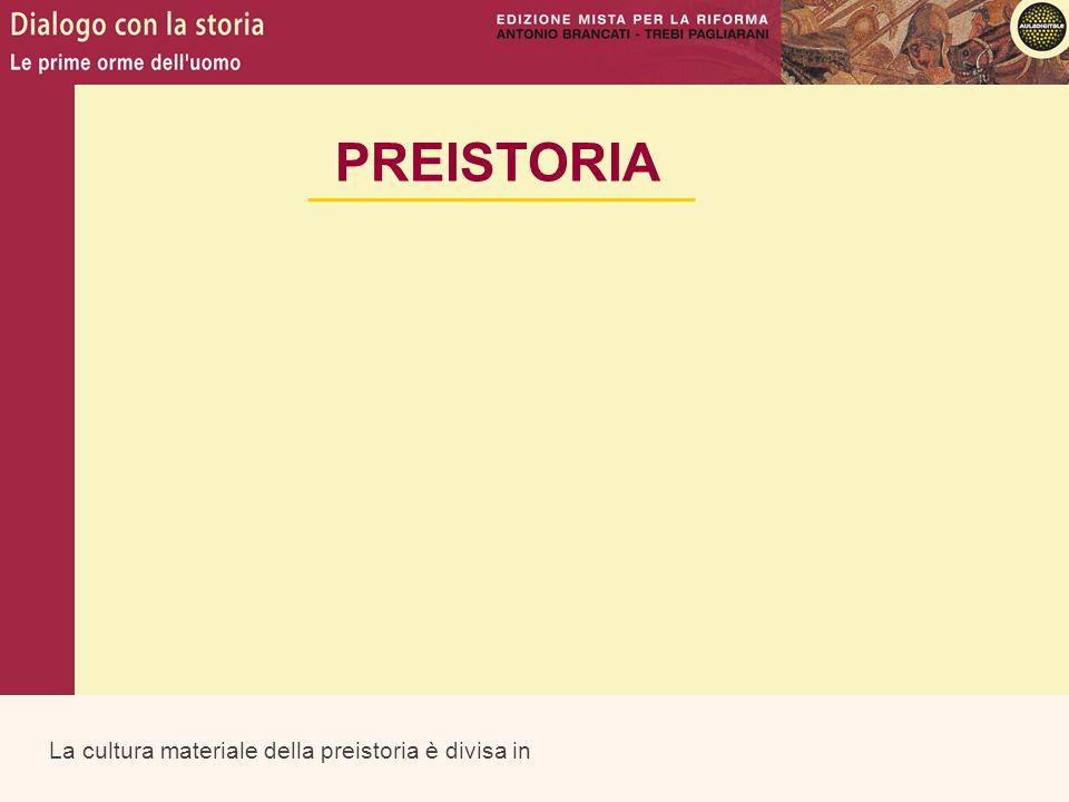 PREISTORIA La cultura materiale della preistoria è divisa in