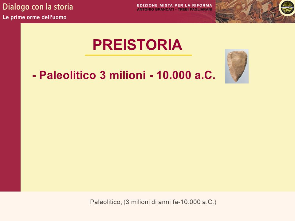 PREISTORIA - Paleolitico 3 milioni - 10.000 a.C.