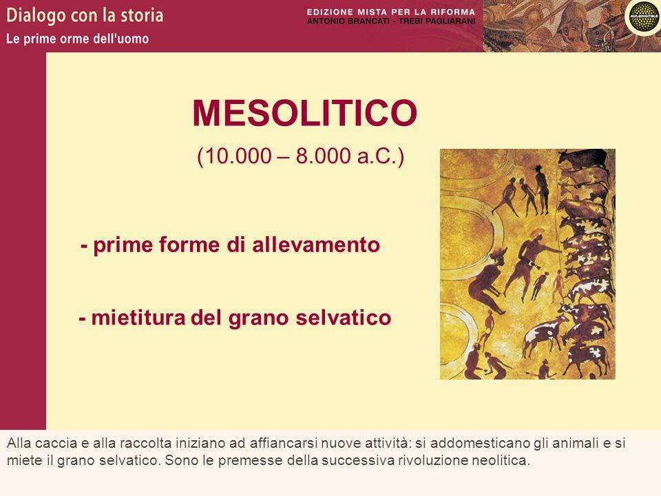 MESOLITICO (10.000 – 8.000 a.C.) - prime forme di allevamento