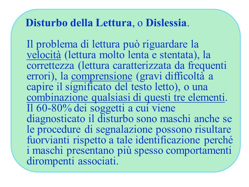 Disturbo della Lettura, o Dislessia