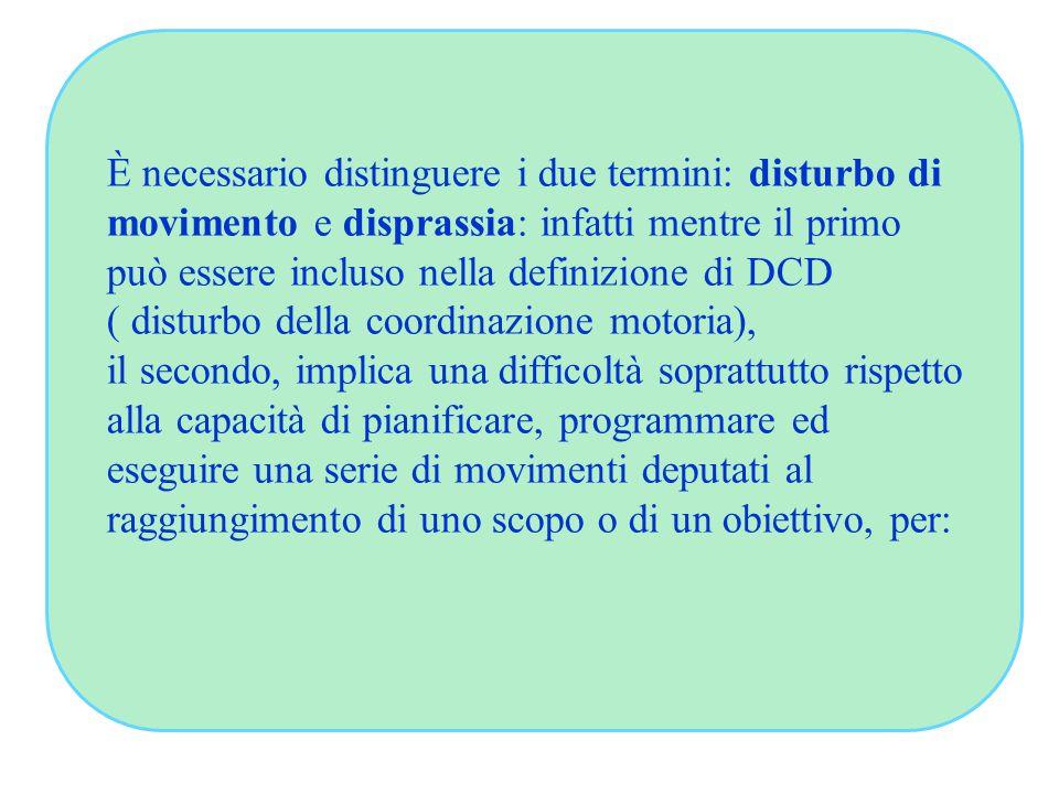 È necessario distinguere i due termini: disturbo di movimento e disprassia: infatti mentre il primo può essere incluso nella definizione di DCD