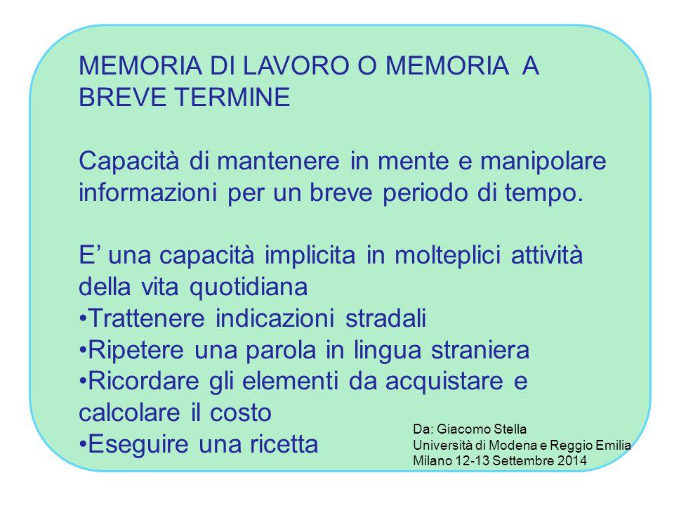 MEMORIA DI LAVORO O MEMORIA A BREVE TERMINE