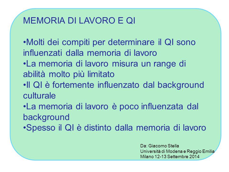 La memoria di lavoro misura un range di abilità molto più limitato