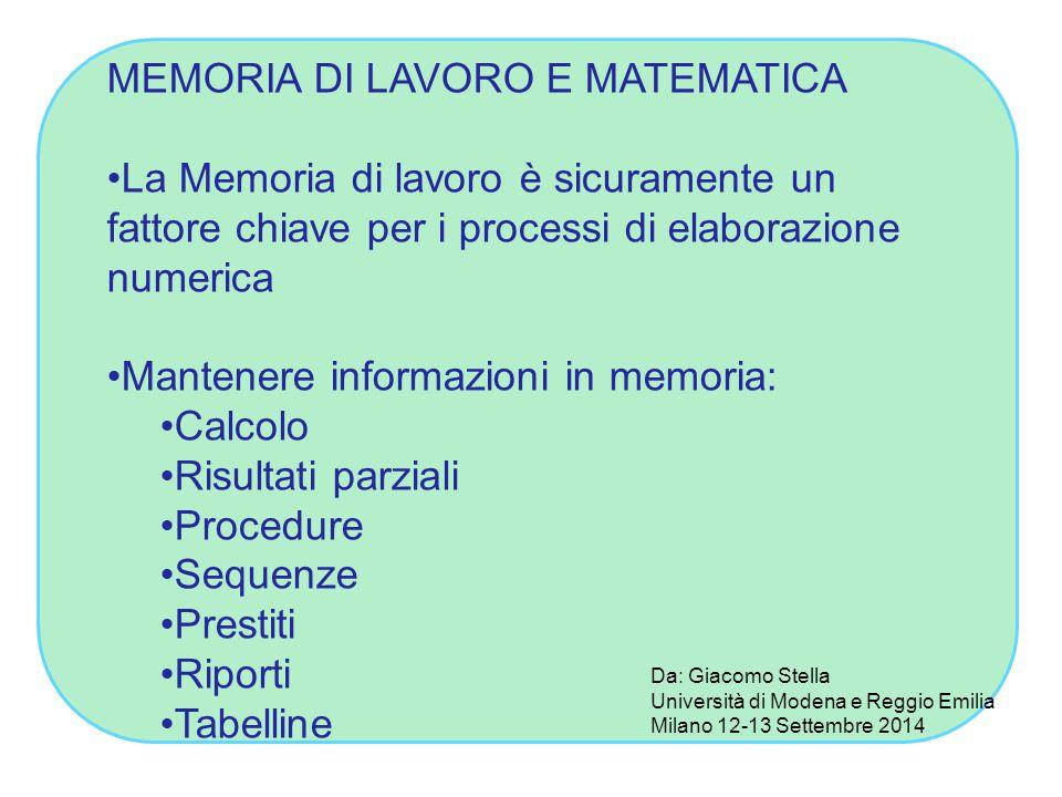 MEMORIA DI LAVORO E MATEMATICA