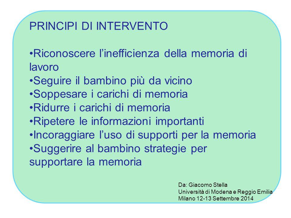 PRINCIPI DI INTERVENTO