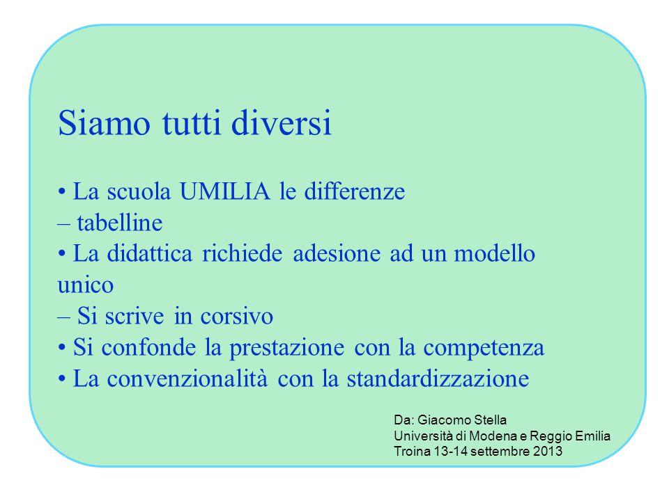Siamo tutti diversi • La scuola UMILIA le differenze – tabelline