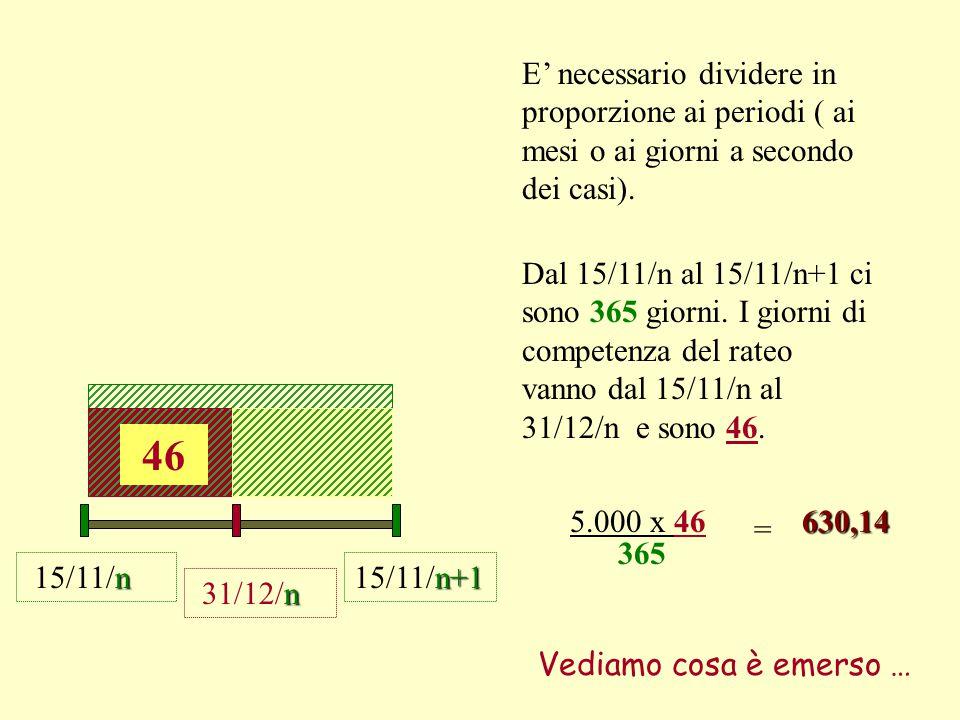 E' necessario dividere in proporzione ai periodi ( ai mesi o ai giorni a secondo dei casi).