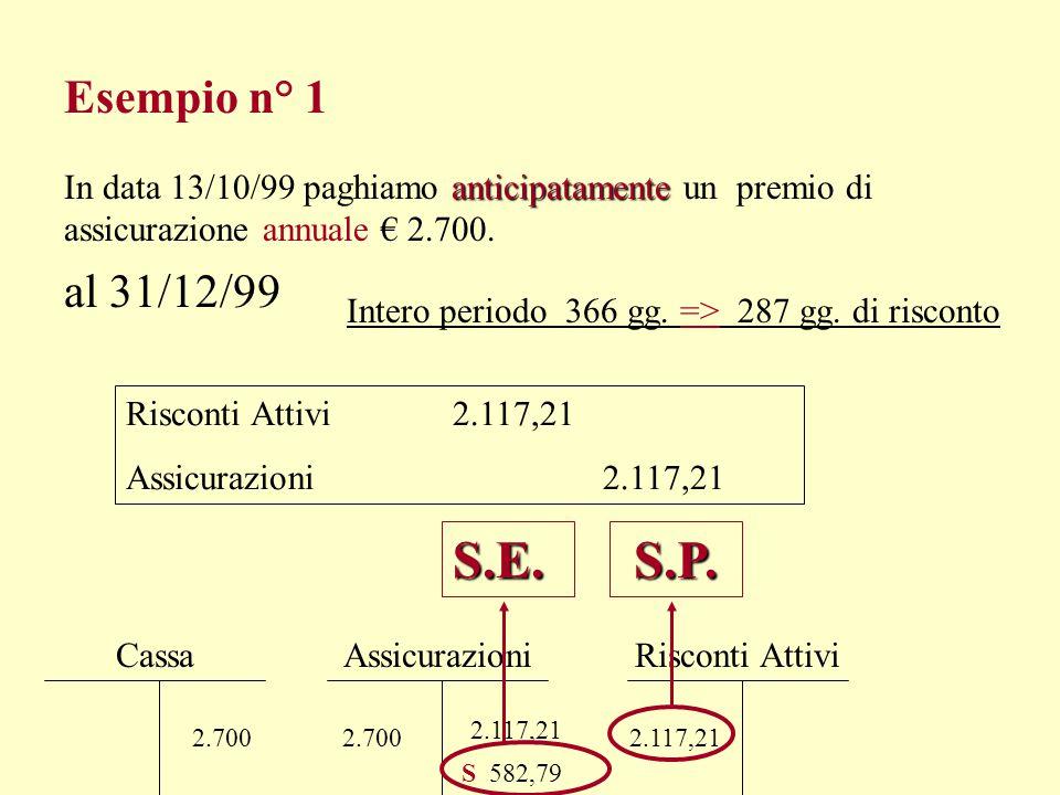 Esempio n° 1 In data 13/10/99 paghiamo anticipatamente un premio di assicurazione annuale € 2.700.