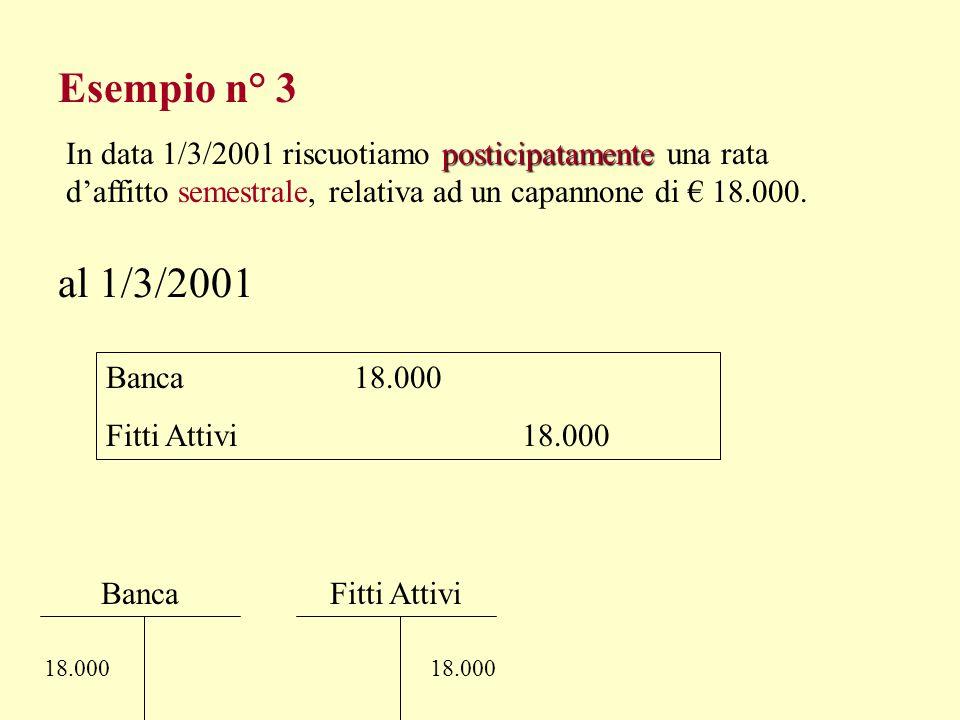 Esempio n° 3 In data 1/3/2001 riscuotiamo posticipatamente una rata d'affitto semestrale, relativa ad un capannone di € 18.000.