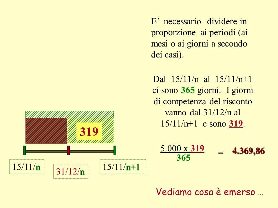 E' necessario dividere in proporzione ai periodi (ai mesi o ai giorni a secondo dei casi).