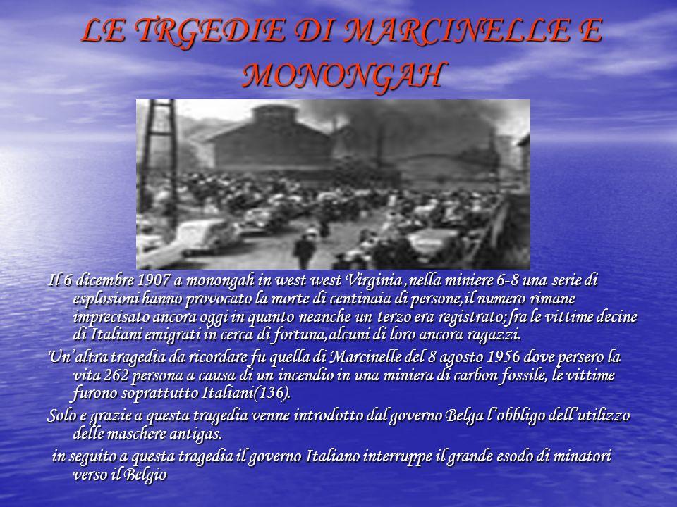 LE TRGEDIE DI MARCINELLE E MONONGAH