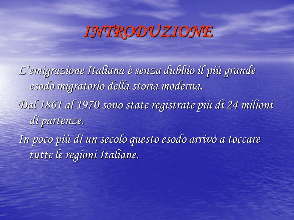INTRODUZIONE L'emigrazione Italiana è senza dubbio il più grande esodo migratorio della storia moderna.