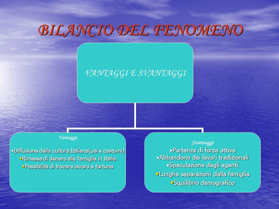BILANCIO DEL FENOMENO