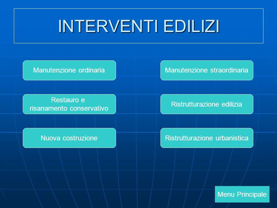 INTERVENTI EDILIZI Manutenzione ordinaria Manutenzione straordinaria