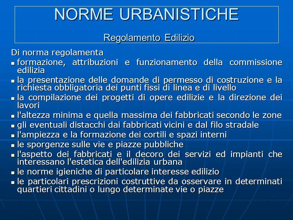 NORME URBANISTICHE Regolamento Edilizio