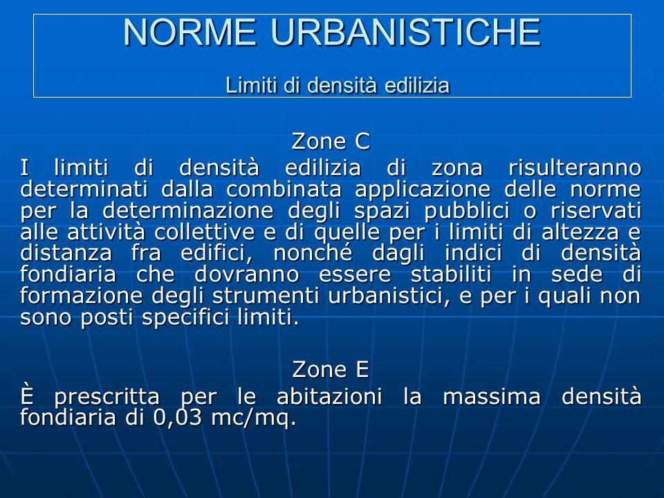 NORME URBANISTICHE Limiti di densità edilizia