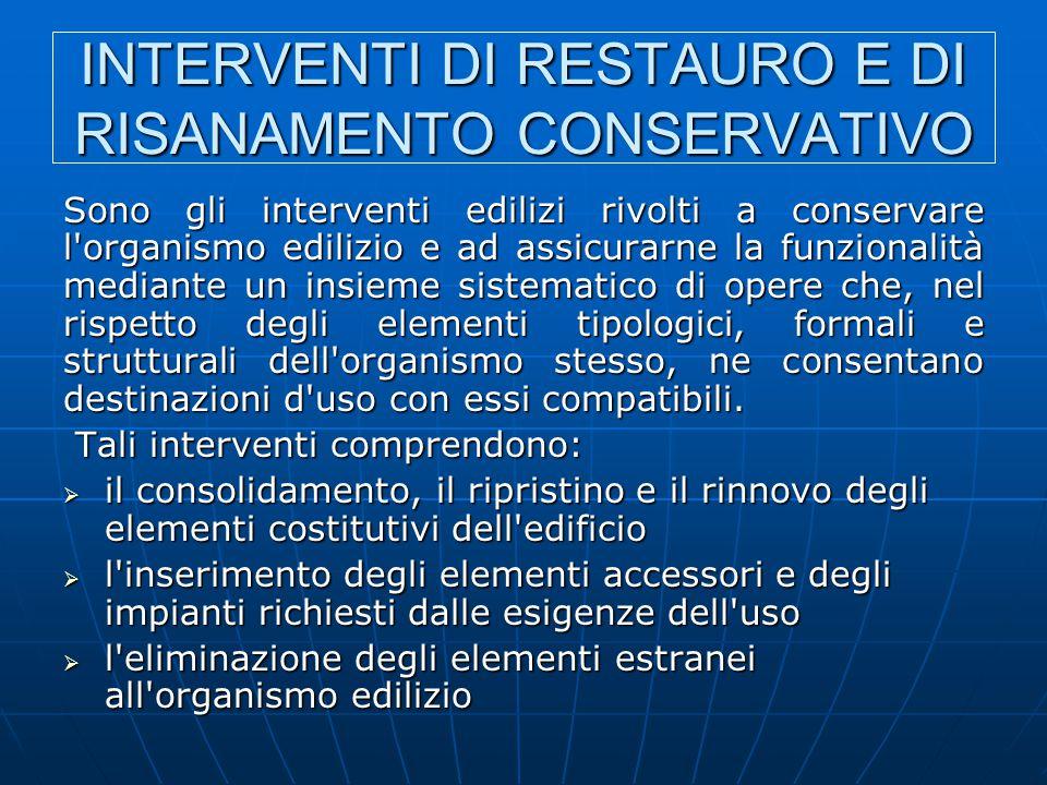 INTERVENTI DI RESTAURO E DI RISANAMENTO CONSERVATIVO