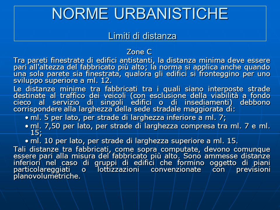 NORME URBANISTICHE Limiti di distanza