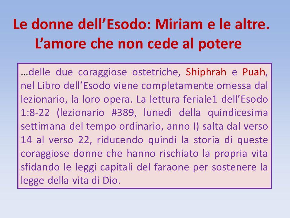 Le donne dell'Esodo: Miriam e le altre. L'amore che non cede al potere