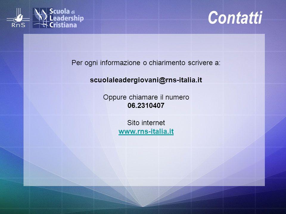 Contatti Per ogni informazione o chiarimento scrivere a: