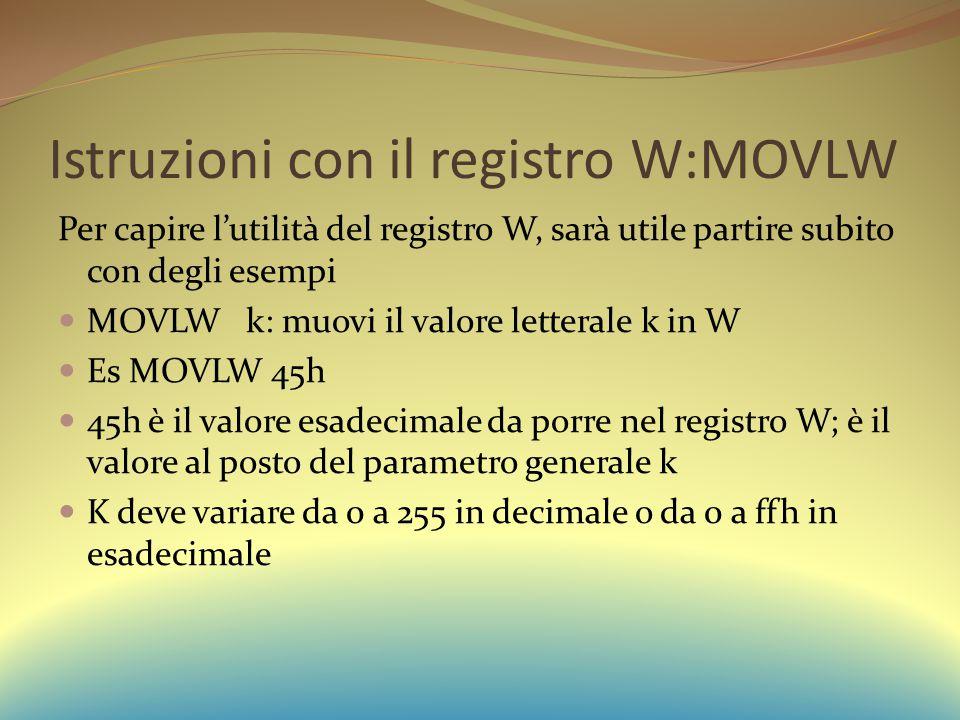 Istruzioni con il registro W:MOVLW