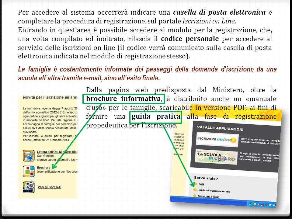Per accedere al sistema occorrerà indicare una casella di posta elettronica e completare la procedura di registrazione, sul portale Iscrizioni on Line.