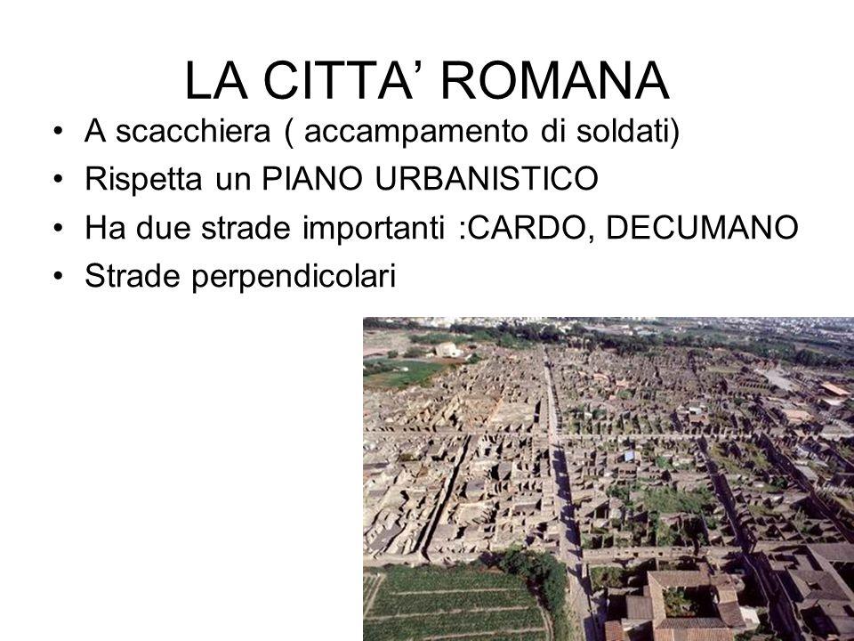 LA CITTA' ROMANA A scacchiera ( accampamento di soldati)