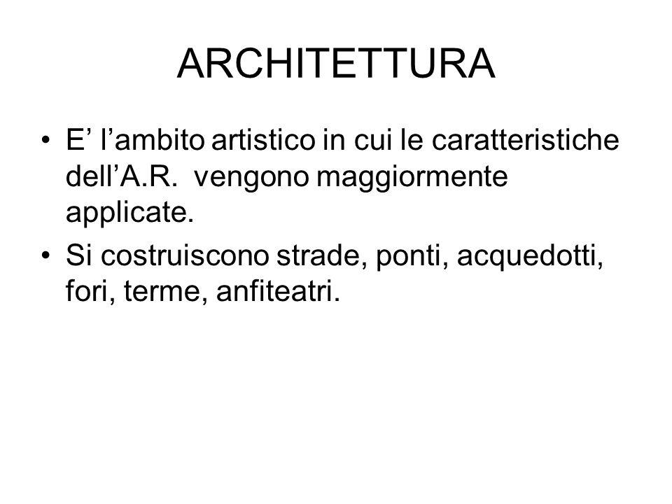 ARCHITETTURA E' l'ambito artistico in cui le caratteristiche dell'A.R. vengono maggiormente applicate.