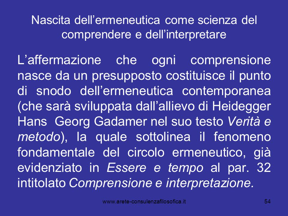 Nascita dell'ermeneutica come scienza del comprendere e dell'interpretare