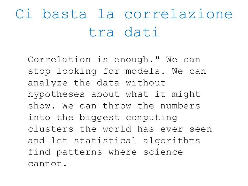 Ci basta la correlazione tra dati