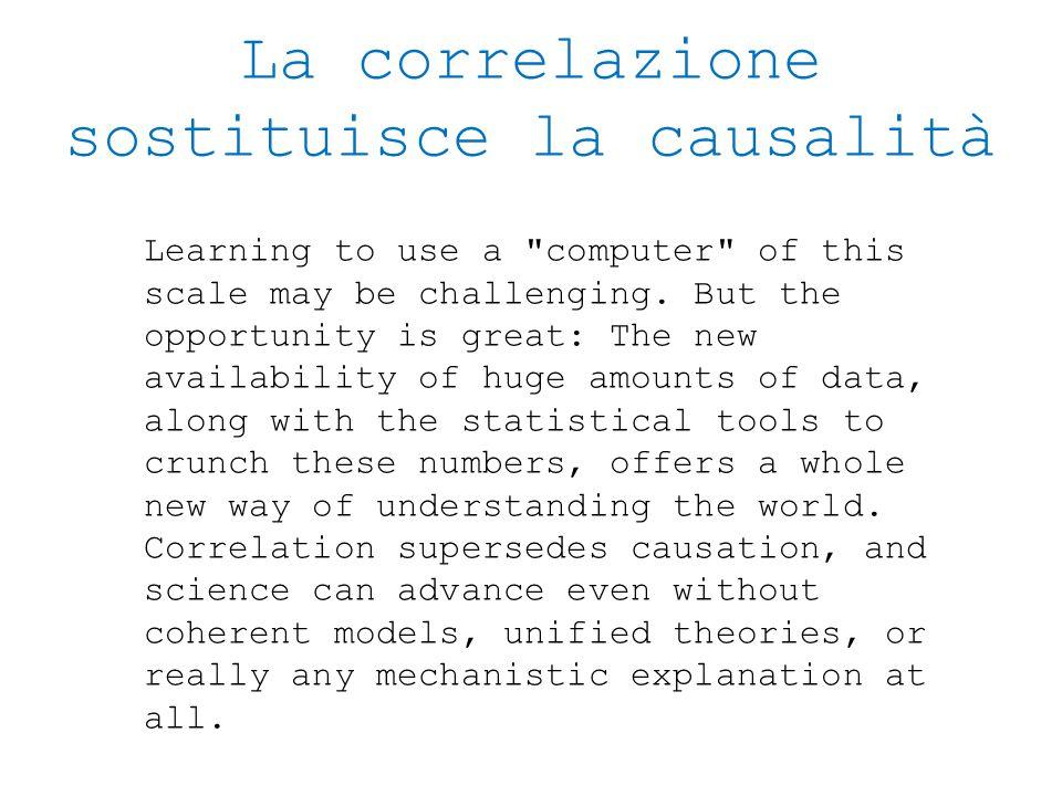 La correlazione sostituisce la causalità