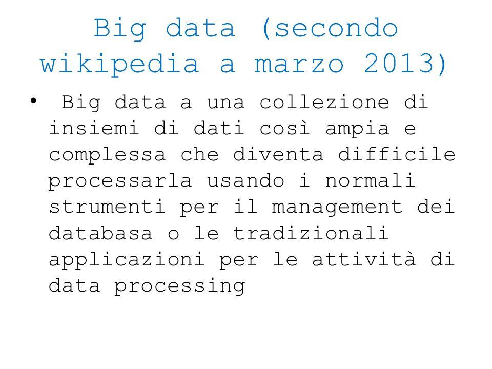 Big data (secondo wikipedia a marzo 2013)