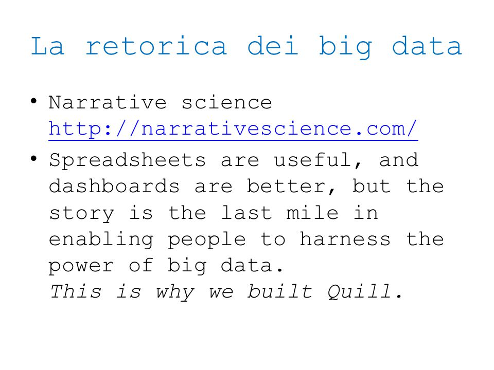 La retorica dei big data
