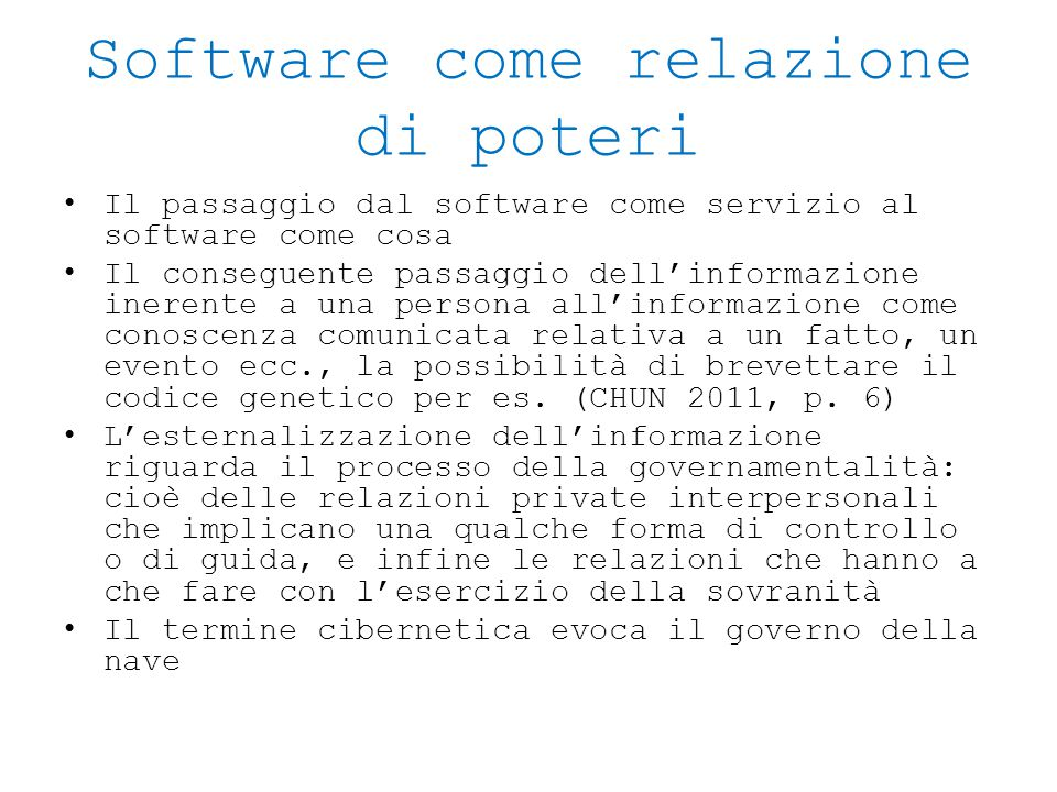Software come relazione di poteri