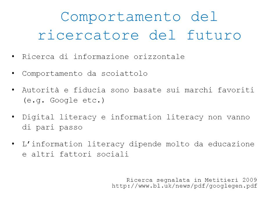Comportamento del ricercatore del futuro